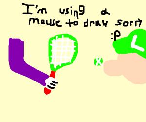 Waluigi hits tennis ball into Luigi's face!