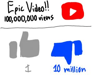 "Ten million dislikes on an ""epic"" YT video."