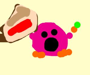 Kirby wearing pants holding orange + pie