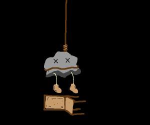 rock with legs hangs himself