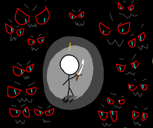 Out of the darkness, so many eyes. RED EYES