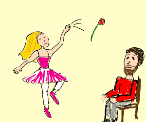 dancer girl gives rose to sad man