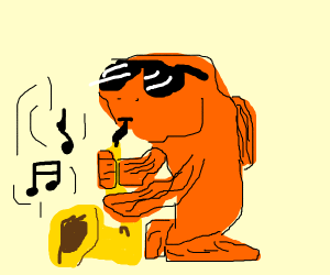 gold fish playing the saxaphone