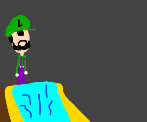 luigi's mansion with a waterslide