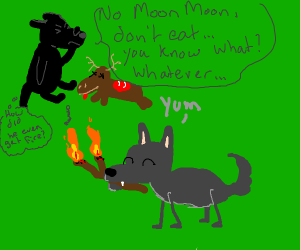 wolf eats a burning twig