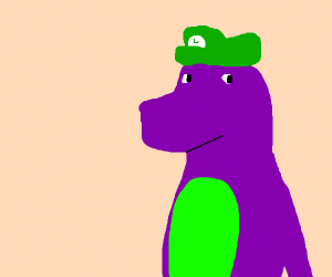 Barney with Luigi's hat on