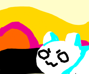 OWO fluffy white pupper see sunset