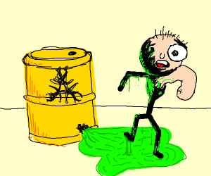 Stick man transformation after toxic waste.