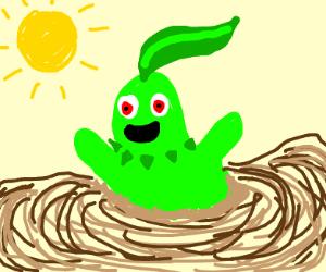 Chikorita happily sinking in quicksand