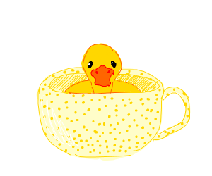 Duck in a speckled teapot