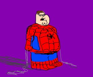Family guy in Spider-Man costume