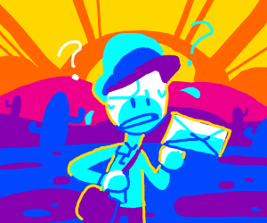 confused mailman in desert