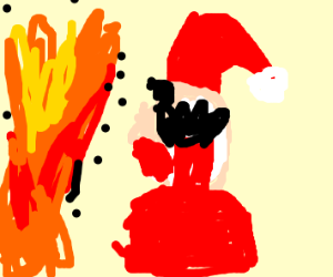 the fire scares santa
