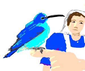 Nurse blue bird with long beak