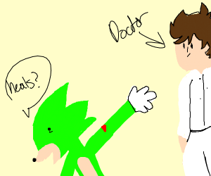 Green Sonic asks Dr for heals