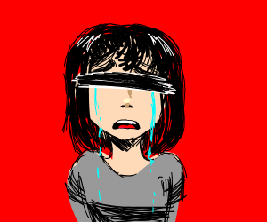 Crying girl that doesn't have eyes