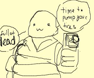 Michelin man with a gun