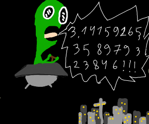 Green alien yells the digits of Pi