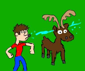 deep spits in a moose's ear