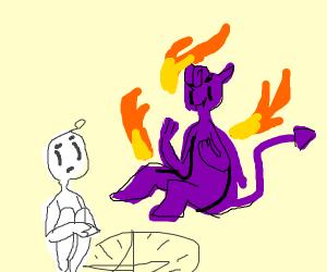 man summons purple devil