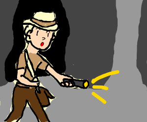 Archaeologist exploring with an Egg