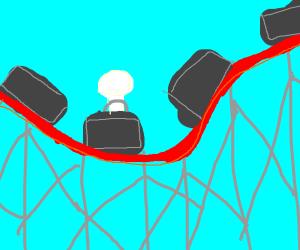 White man riding roller coaster