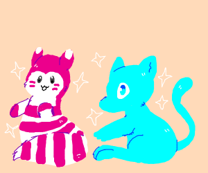 A shiny Mew and a Furret (Pokemon)
