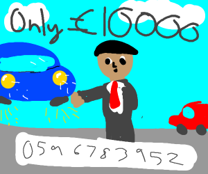 Car salesman has floating car for sale