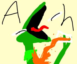 Kermit spilled his orange juice and screams