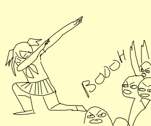 The crowd HATES dabbing anime girl.