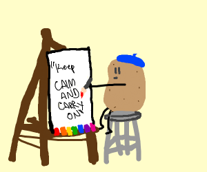 a potato painting a very inspirational quote