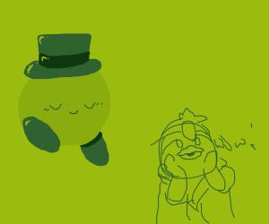 Kirby has a tophat & kind dedede is impressed
