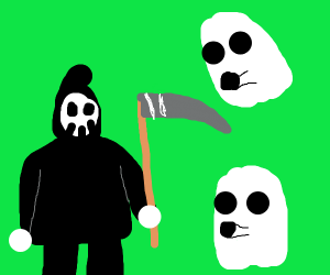 grim reaper hanging out with ghosts