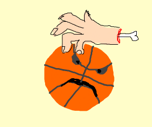 a hand bouncing a living basketball
