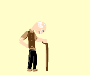 Old man with walking stick.