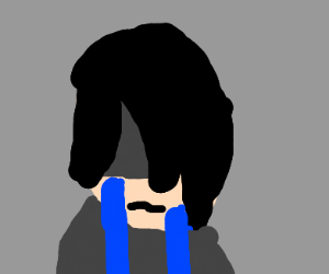A emo kid crying