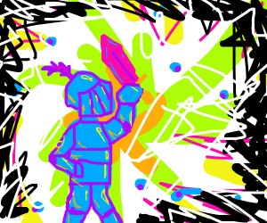 A trippy psychedelic knight with a sword