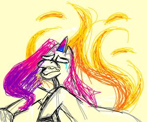 unicorn on fire