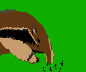 Anteater eating tiny humans