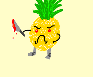 A pineapple with robotic legs that will kill