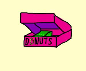 Stack of money in donut box