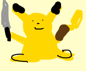 Fat pikachu with a knife