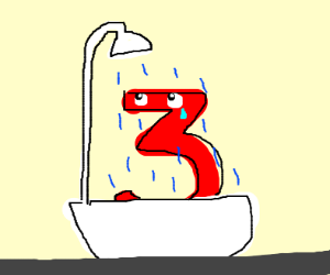 the number three sadly taking a shower