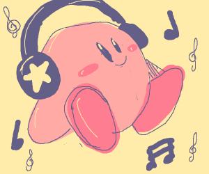 kirby listening to music