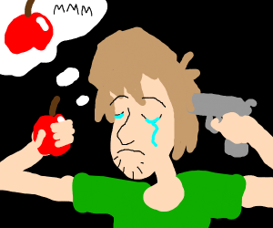 guy thinks to apple while holding a gun