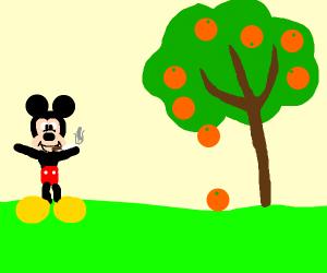 Micky Mouse smoking next to a Orange tree