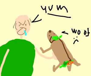 man taking burrito dog for a walk