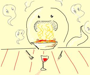 Ghost eating spaghetti