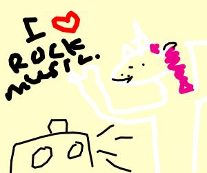 unicorn that loves rock(music)