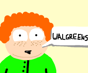 ginger kid in green shirt says walgreens